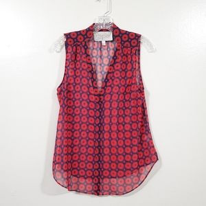 Rory Beca Sleevesless Blouse Red & Blue Size Small